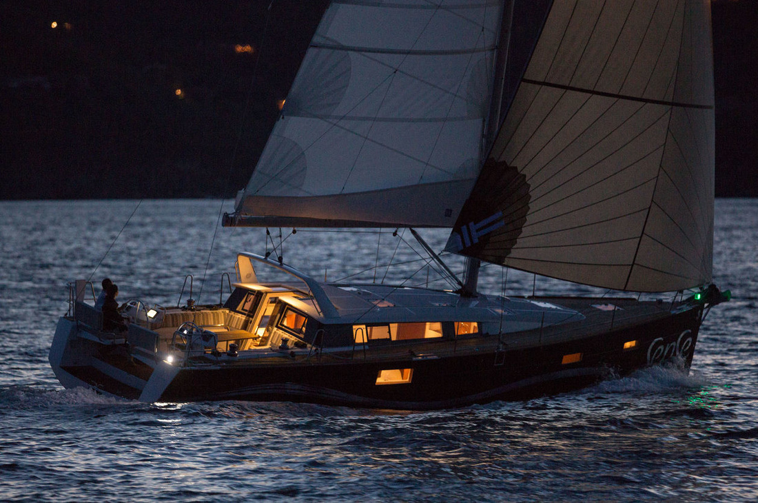 Sailing in Cyclades. Night sailing.