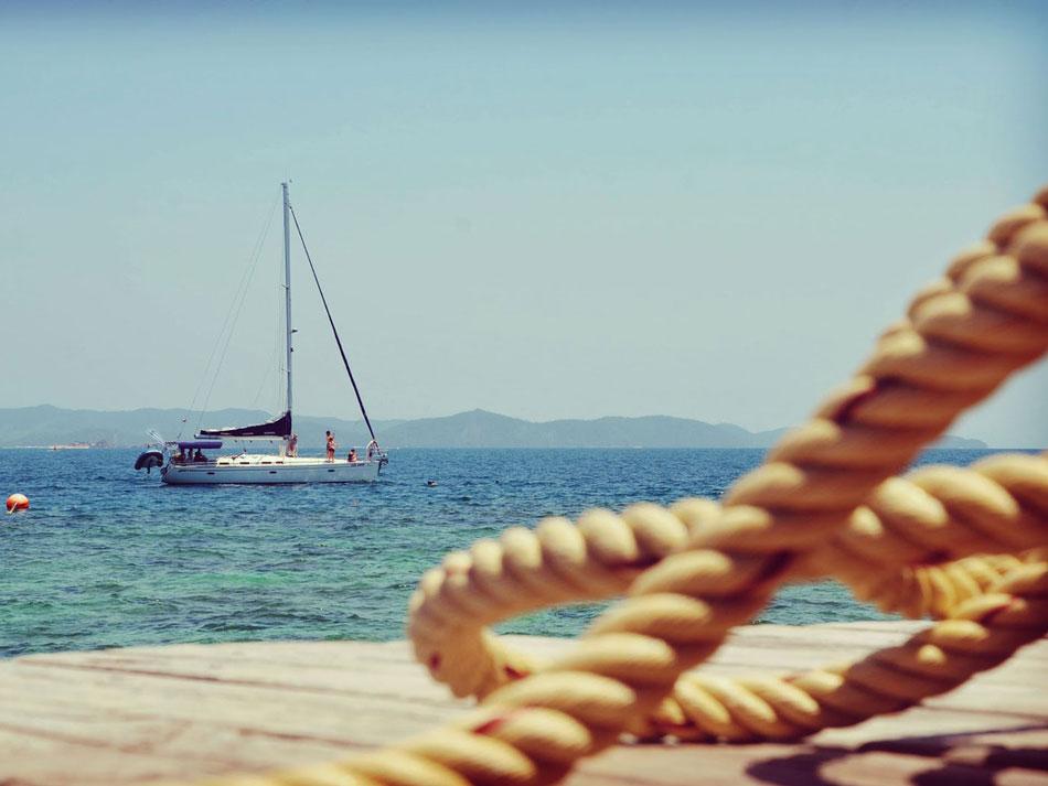 Sailboat Moored Ropes