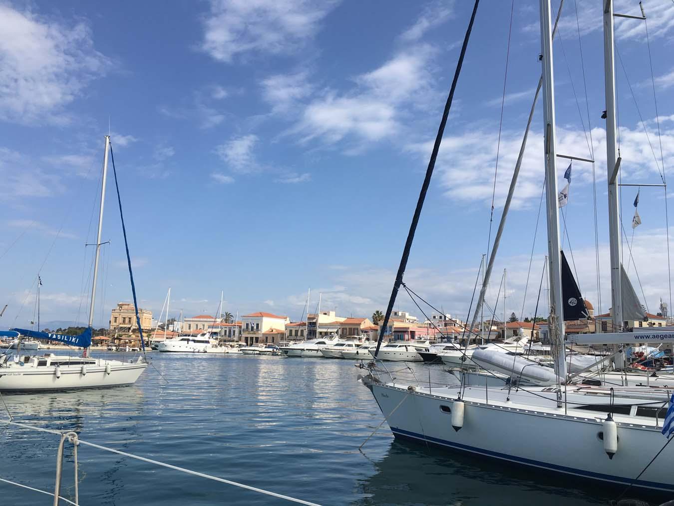 Sailing in Greece. Port of Aegina.
