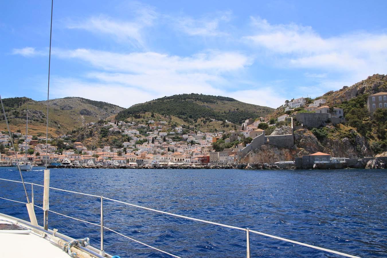 Sailing in Greece. Entering Hydra.
