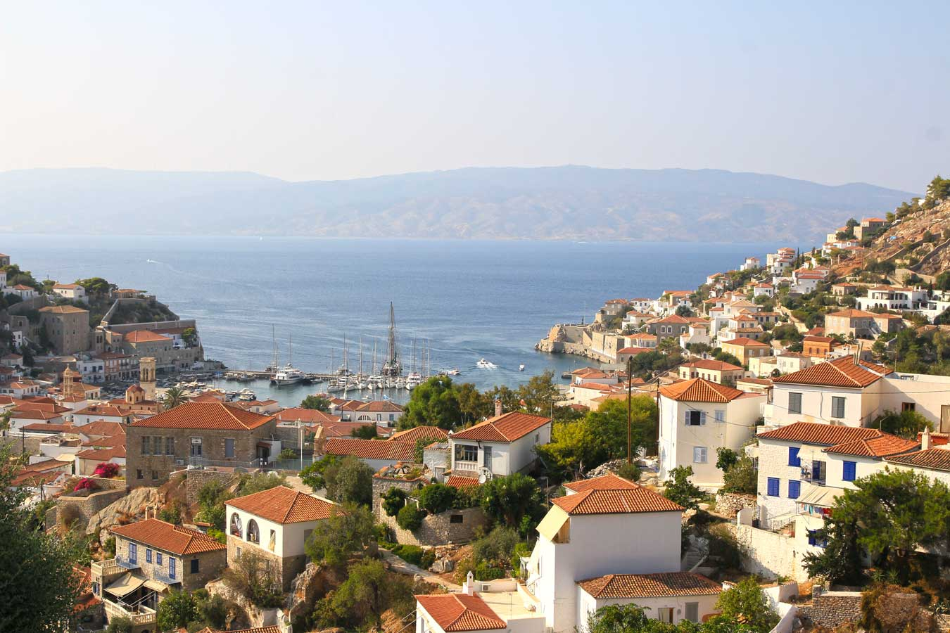 Overlooking Hydra Town, Greece.