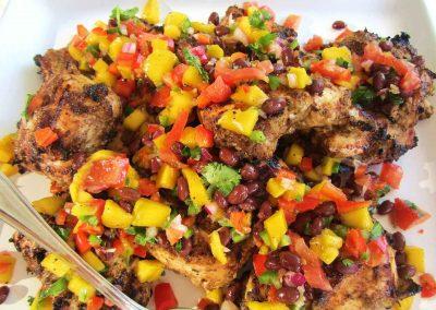 Jerk Chicken With Mango Salsa, Caribbean Food, Sailing