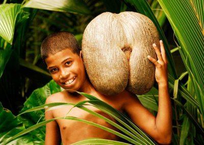 Coco De Mer nut, boy, Seychelles