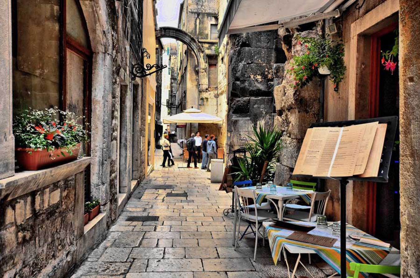Narrow winding street in Split